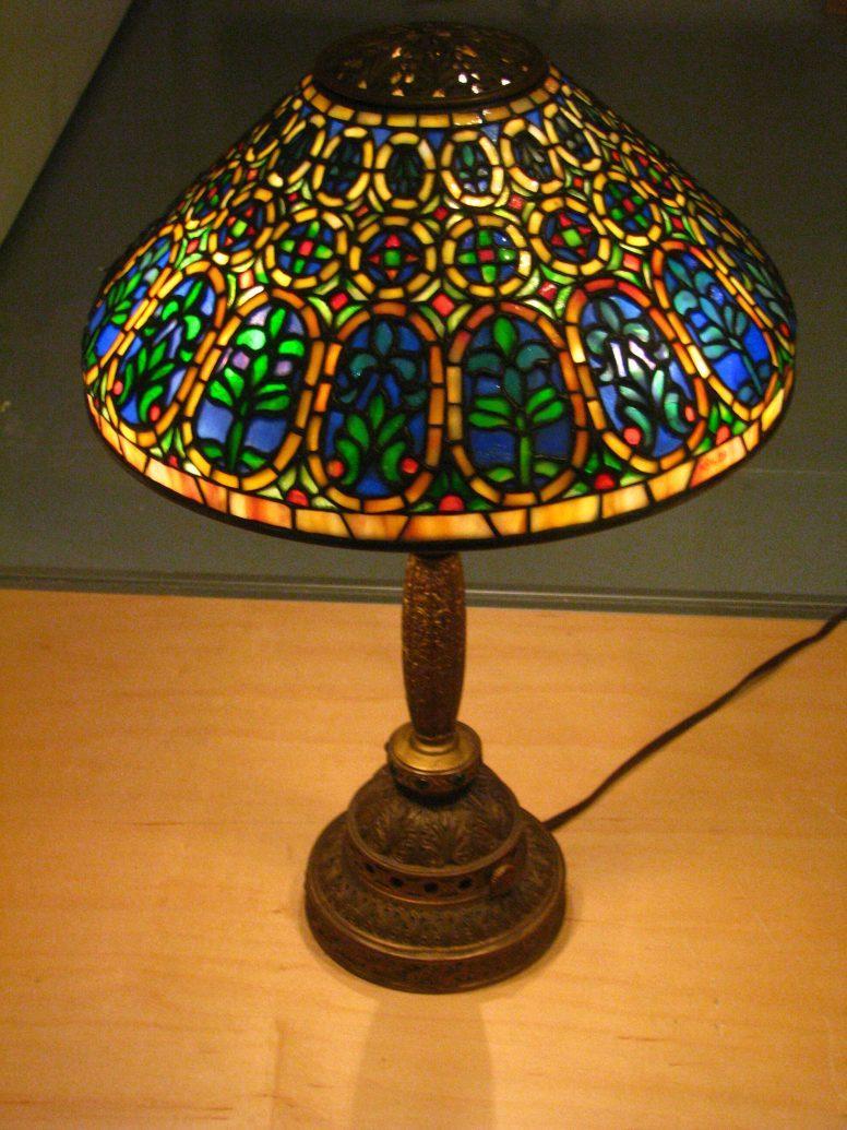 Złoto-niebieska lampa Tiffany